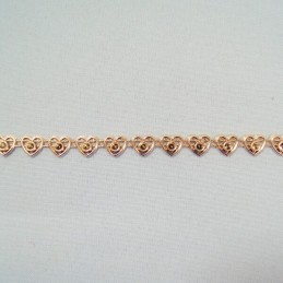 1 Metre 7mm Rose Gold Heart Outline Chain Metallic Trim Craft Accessories
