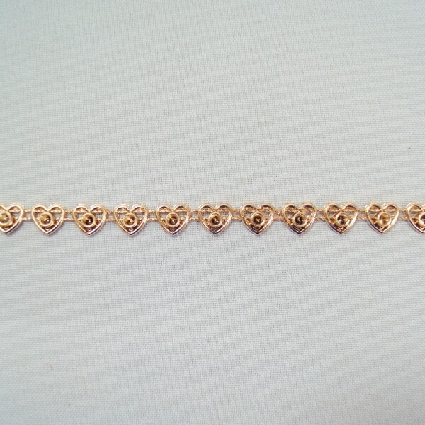 1 Metre 7mm Rose Gold Heart Outline Chain Metallic Trim Craft Accessories