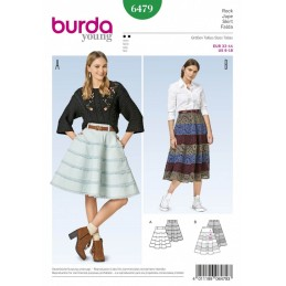Burda Style Women's Full A-Line Skirt In Two Lengths Sewing Pattern 6479