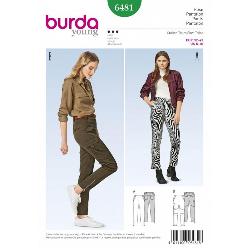 Burda Style Women's Skinny Cargo Style Trousers Sewing Pattern 6481