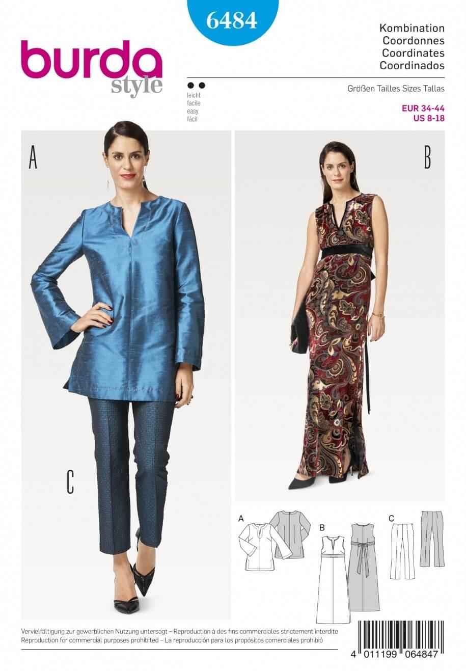 Burda Style Women's Evening Attires Dress, Top & Bottoms Sewing Pattern 6484