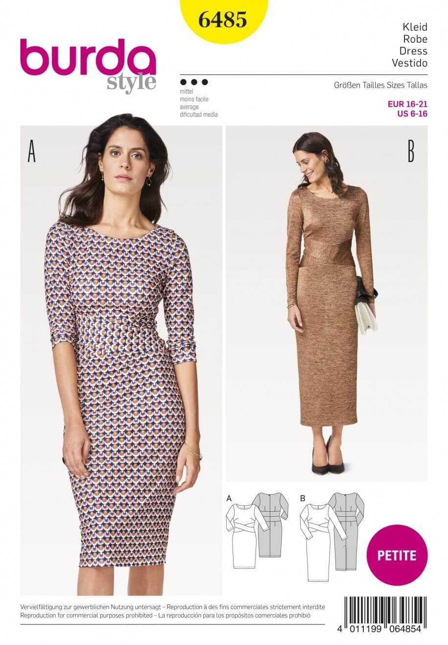 Burda Style Women's Petite Crisscross Waistband Dress Sewing Pattern 6485