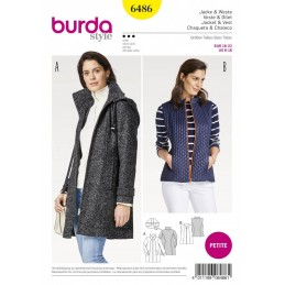 Burda Style Women's Petite Jacket With Highstand Collar Sewing Pattern 6486