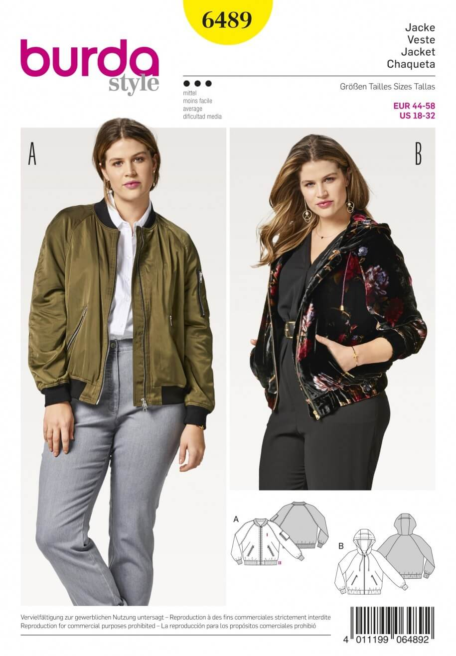 Burda Style Women's Plus Size Casual Hooded jacket Sewing Pattern 6489