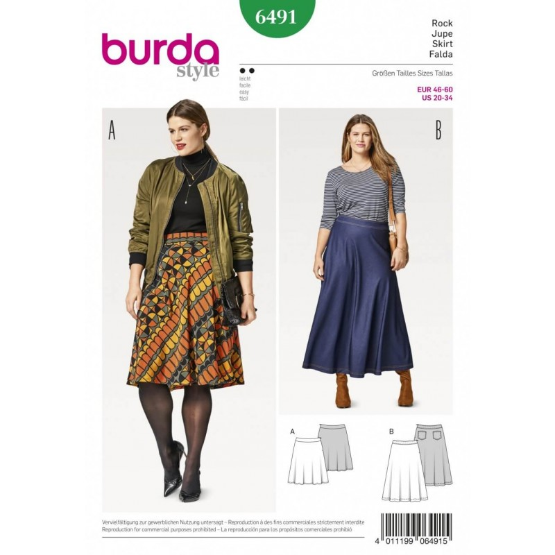 Burda Style Women\'s Plus Size Midi & Maxi Skirt Sewing Pattern 6491