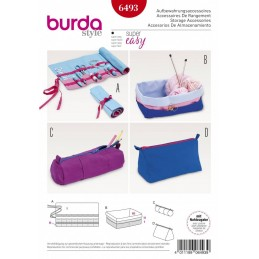 Burda Style Storage Accessories Roll Up Bag Pencil Case Box Sewing Pattern 6493