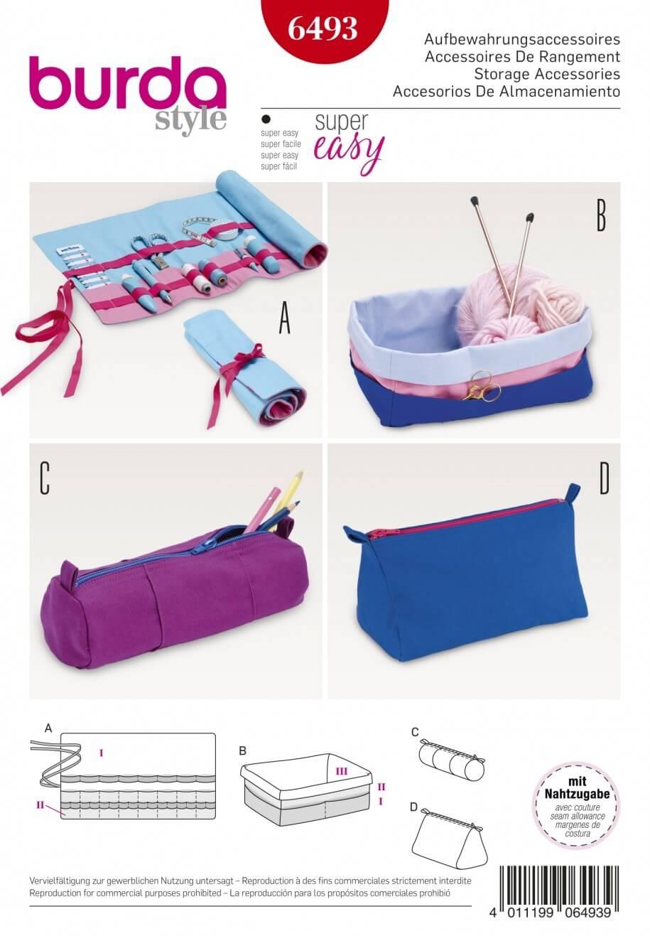 Burda Style Storage Accessories Roll Up Bag Pencil Case Box Sewing Pattern 6493