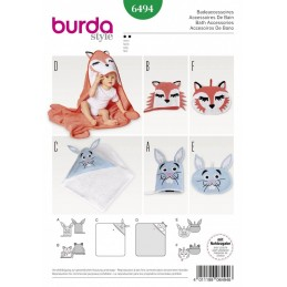 Burda Style Baby Bath Time Accessories Hooded Towel Bath Mit Sewing Pattern 6494