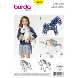 Burda Style Cuddly Horse & Unicorn Child's Stuffed Toy Sewing Pattern 6495