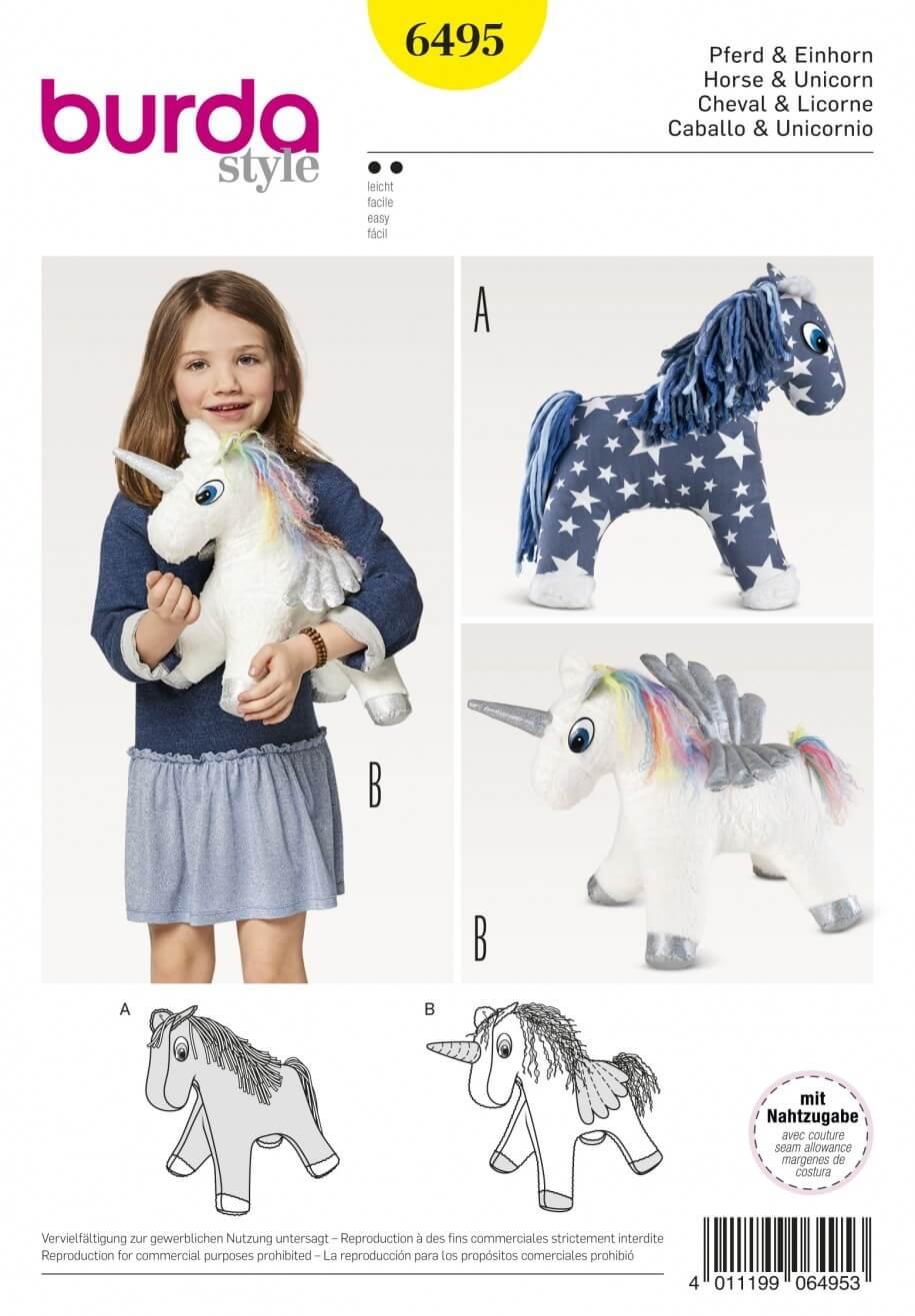 Burda Style Cuddly Horse & Unicorn Child's Stuffed Toy Sewing Pattern 6495