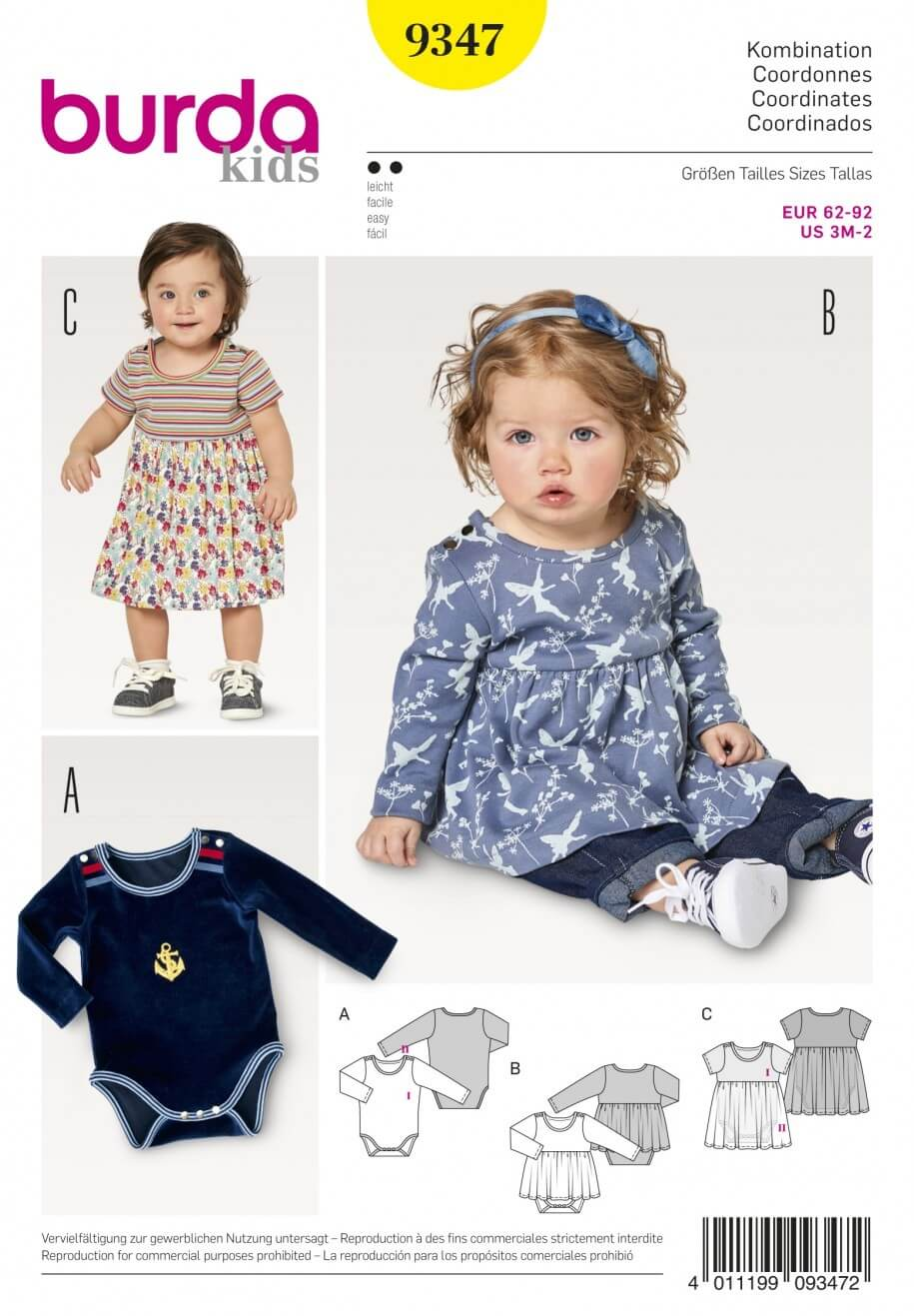 Burda Kids Baby Bodysuit With Optional Pleated Skirt Sewing Pattern 9347
