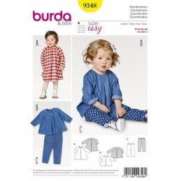 Burda Sewing Pattern 9348 Kids Baby's Loose Long Top/Dress & Trousers