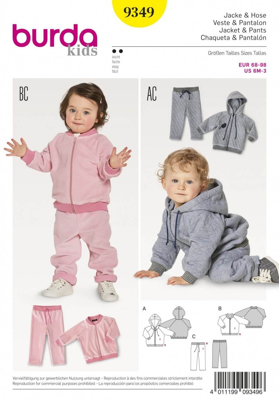 Burda Kids Babies Tracksuit Joggers Jogging Suit Sewing Pattern 9349