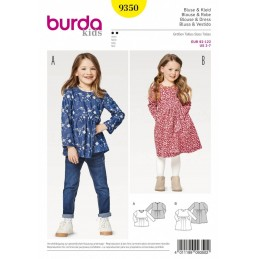 Burda Kids Girl's Tunics and Dresses with Gathered Waist Sewing Pattern 9350