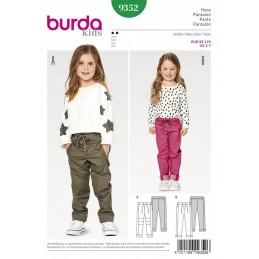 Burda Kids Slim Leg Drawstring Trousers with Hem Variations Sewing Pattern 9352