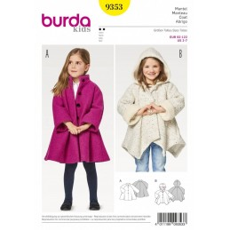 Burda Kids Swing Skirt Jackets with Hem and Hood Options Sewing Pattern 9353