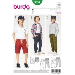 Burda Kids Shorts and Trousers with Hem Options Sewing Pattern 9354