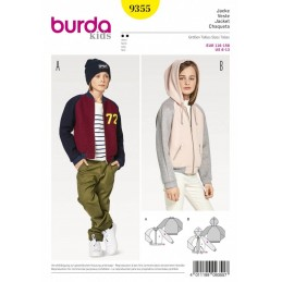 Burda Kids Casual Bomber or Hoodie Jackets Tops Sewing Pattern 9355
