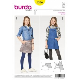 Burda Kids Girls Pinafore Dungarees Dress and Mini Skirt Sewing Pattern 9356