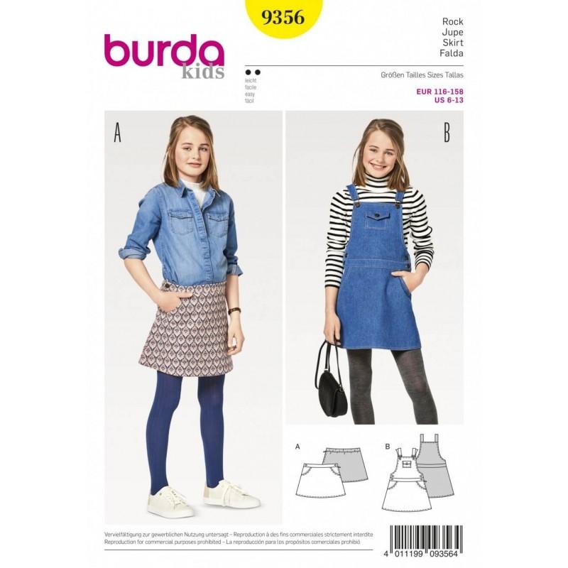 Burda Kids Girls Pinafore Dungarees Dress and Mini Skirt Sewing Pat...