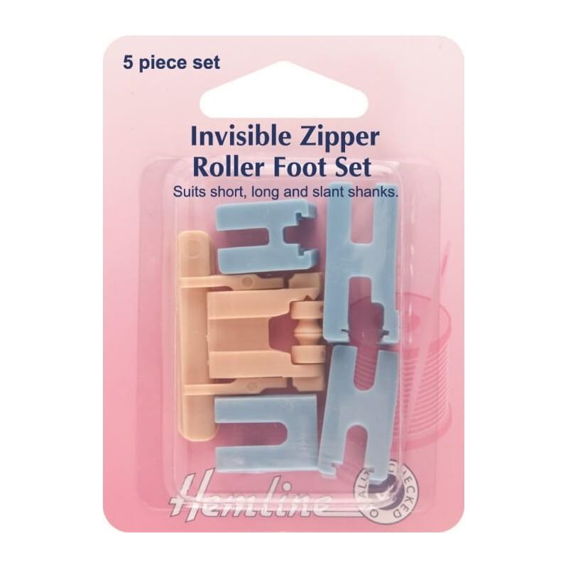Hemline Invisible Zipper Foot Roller Set