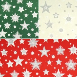 Make A Wish Festive Filled Stars Christmas Xmas 100% Cotton Fabric 140cm Wide