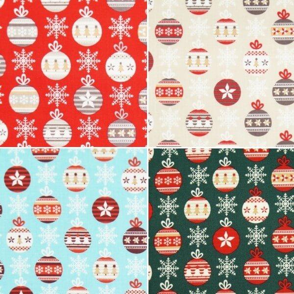 Bobbing Baubles Decoration Christmas Xmas 100% Cotton Fabric 140cm Wide