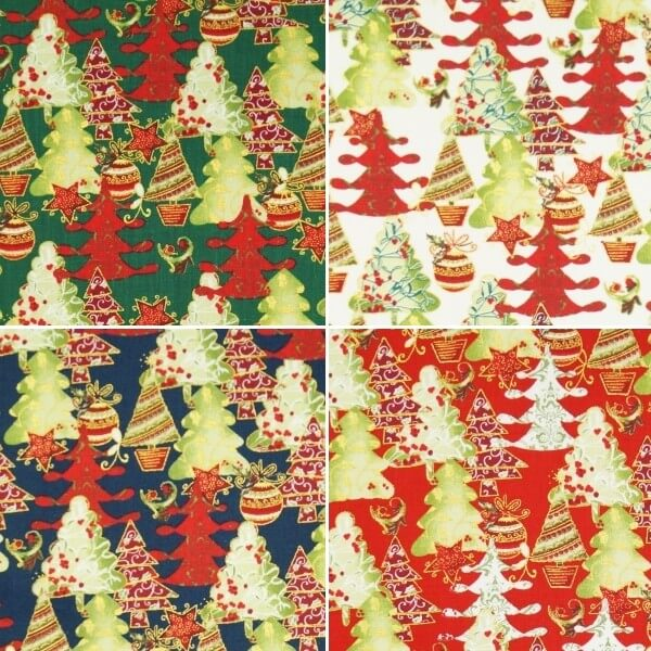 Fantastic Festive Christmas Trees Xmas 100% Cotton Fabric 140cm Wide