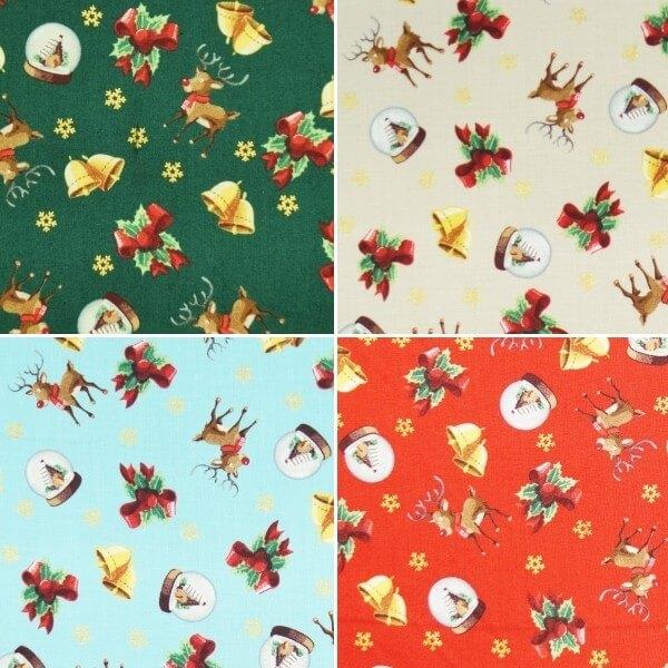 Christmas Snow Globes Reindeer Bells Xmas 100% Cotton Fabric 140cm Wide