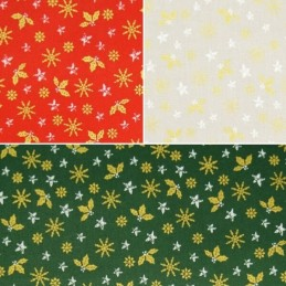Christmas Holly Leaves Snowflakes Stars Xmas 100% Cotton Fabric 140cm Wide