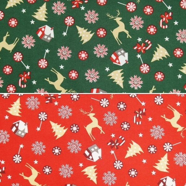 Christmas Candy Cane Cottages Reindeers Trees Xmas 100% Cotton Fabric 140cm Wide