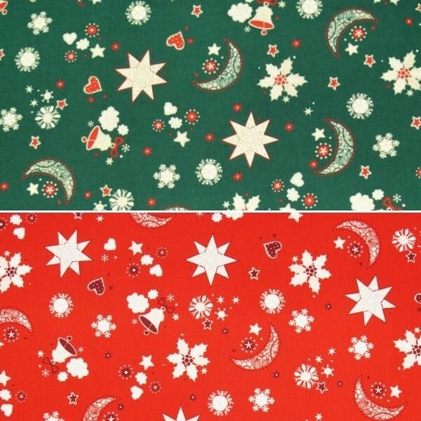 Christmas Dreams Moon Stars Bells Hearts Xmas 100% Cotton Fabric 140cm Wide