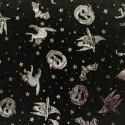 Metallic Foil Spooky Night Halloween Satin 100% Polyester Fabric 150cm Wide