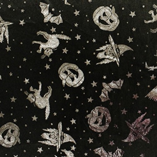 Metallic Foil Spooky Night Halloween Satin 100% Polyester Fabric 150cm Wide