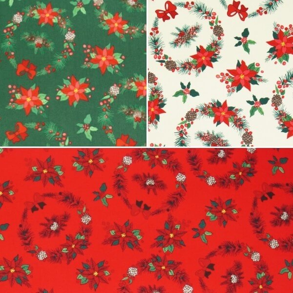 Christmas Wreaths Poinsettia Floral Xmas 100% Cotton Fabric 140cm Wide