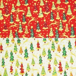 Gold Jazzy Christmas Trees Reindeer Xmas 100% Cotton Fabric 140cm Wide