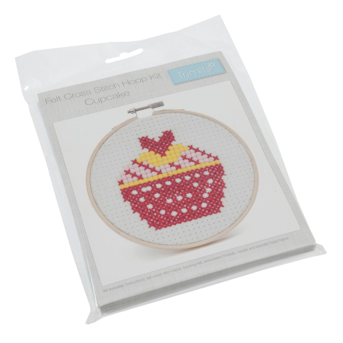 Cute Cupcake Beginners Mini Cross Stitch Sewing Kit with Hoop Craft