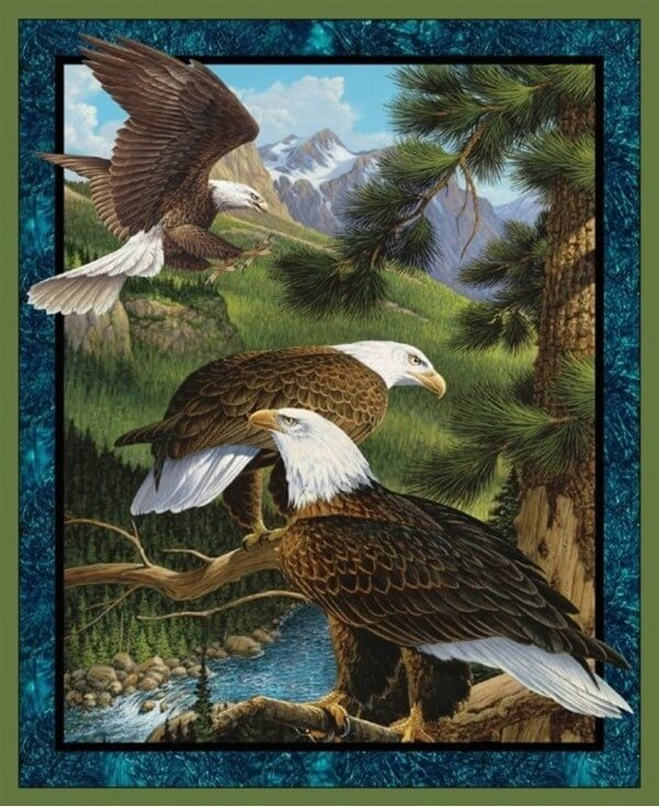 Wild Flying High Eagle Panel 100% Cotton Patchwork Fabric (Springs Creative)
