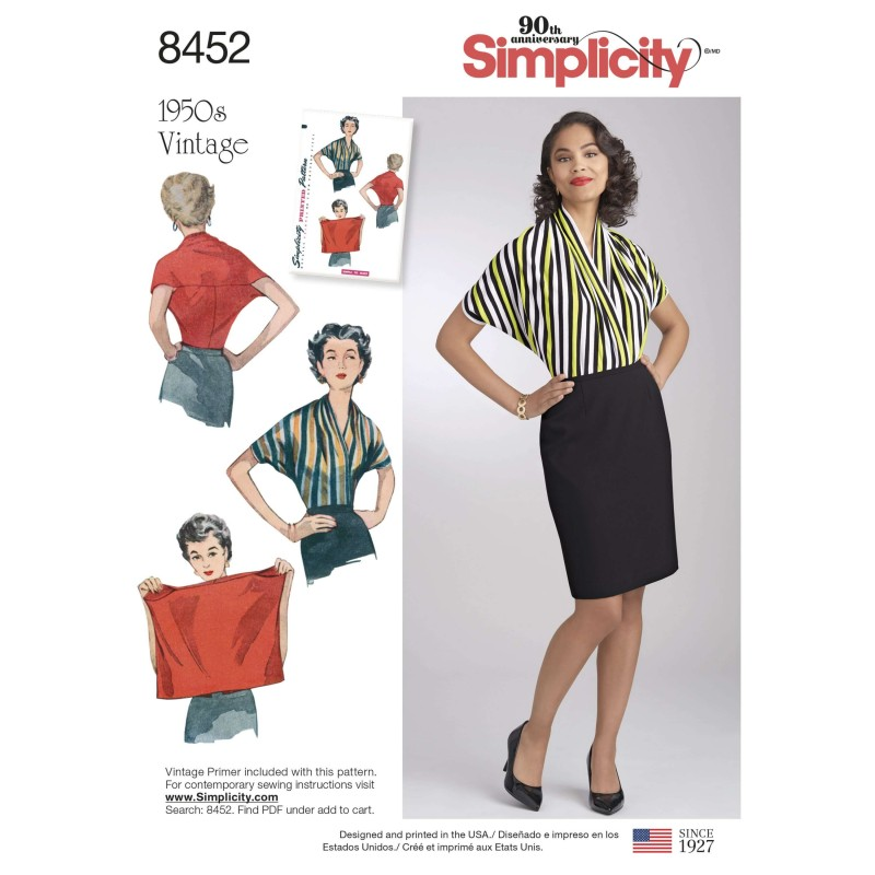 Misses' Vintage 1950s Easy to Make Blouse Shirt Simplicity Sewing Pattern 8452
