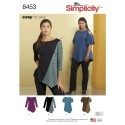 Misses' Easy to Sew Asymmetric Stretch Knit Tops Simplicity Sewing Pattern 8453