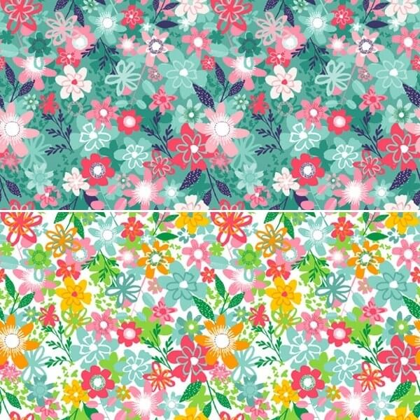 Fruity Friends Fabulous Florist Floral 100% Cotton Fabric Patchwork (Makower) JANUARY