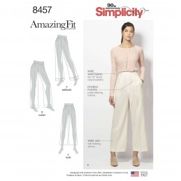 Simplicity Misses Amazing Fit Wide Leg Double Pleat Trousers Sewing Pattern 8457