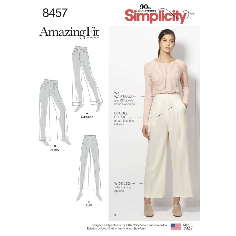 Misses Amazing Fit Wide Leg Double Pleat Trousers Simplicity Sewing Pattern 8457