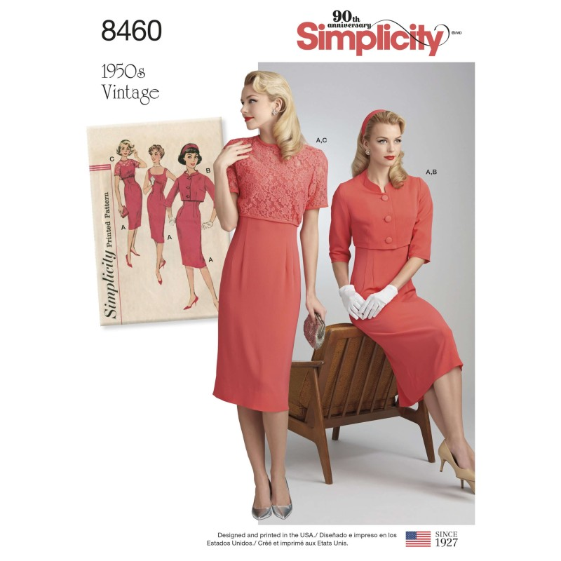 Misses' Vintage Sheath Dress and Crop Jackets Simplicity Sewing Pattern 8460