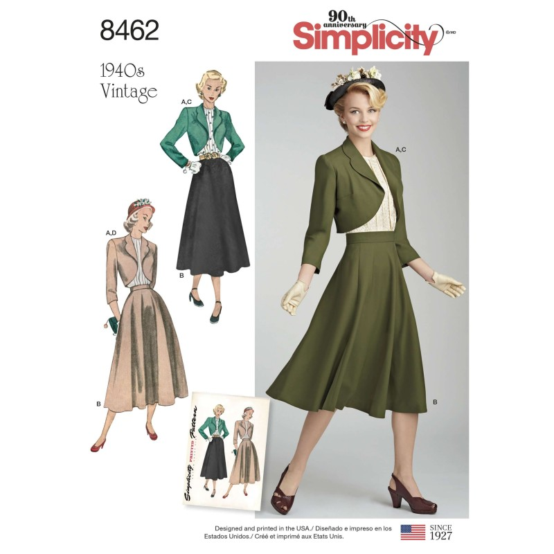 Women's Vintage Separates Skirt Blouse Bolero Simplicity Sewing Pattern 8462