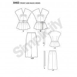 Women's Vintage Two Piece Dress Top Skirt Simplicity Sewing Pattern 8463