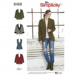 Simplicity Women's Casual Winter Blazers Jackets and Gilet Sewing Pattern 8468