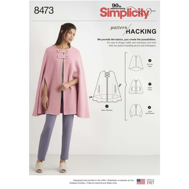 Women's Design Hacking Collection Poncho Cape Simplicity Sewing Pattern 8473