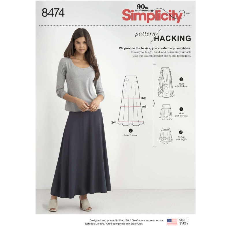 Women's Design Hacking Collection Knit Skirt Simplicity Sewing Pattern 8474