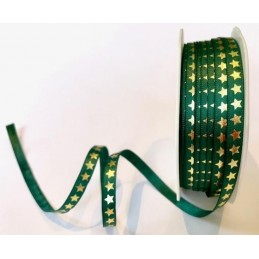 6mm Bertie's Bows Christmas Stars Red Or Green Polyester Grosgrain Craft Ribbon